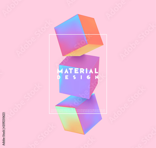 Carta da parati Minimal abstract art with geometric shapes, stylish background with 3d elements cube