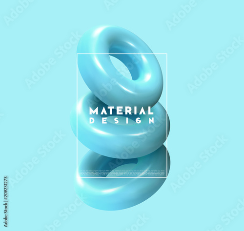 Fotografie, Obraz  Minimal abstract art with geometric shapes, stylish background with 3d elements blue torus