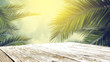 canvas print picture - table background of free space and mood landscape of palms