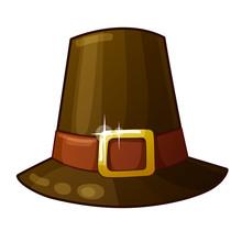 Pilgrim Hat Isolated On White Background