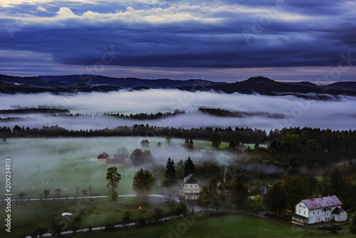 Spoed Foto op Canvas Grijze traf. Foggy morning in the landscape