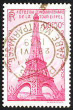 French Vintage Stamp Celebrating Tour Eiffel