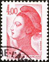 Postage Stamp With The Portrait Of A Woman, Known As Liberty, After Eugene Delacroix