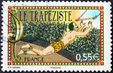 Trapeze Artist Of Circus On Fr...