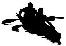 Sports Kayak With Athletes On ...