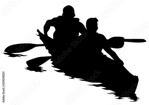 Sports kayak with athletes on a white background Wallpaper Mural