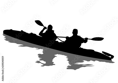 Sports kayak with athletes on a white background Canvas-taulu