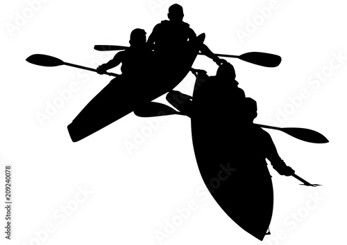 Valokuva  Sports kayak with athletes on a white background