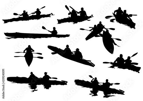 Fotografía Sports kayak with athletes on a white background
