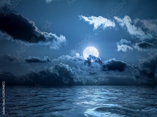Canvas Print Full moon over the ocean