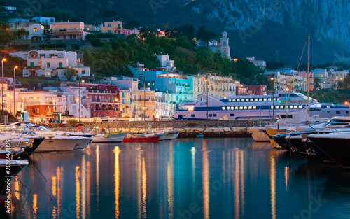 Foto op Canvas Europa Night view of Marina Grande, Capri island, Italy