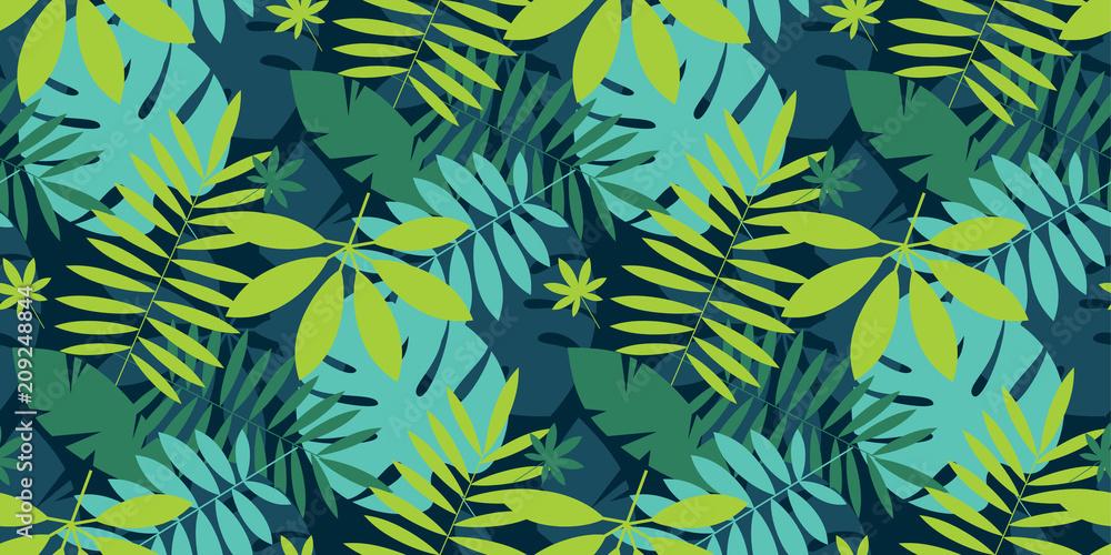 Fototapeta Simple green tropical leaves design seamless pattern