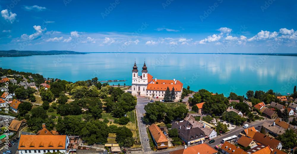 Fototapety, obrazy: Tihany, Hungary - Aerial panoramic view of the famous Benedictine Monastery of Tihany (Tihany Abbey) with beautiful coloruful Lake Balaton at background