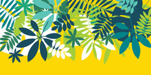Green Simple Tropical Leaves Design Element