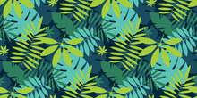 Simple Green Tropical Leaves Design Seamless Pattern