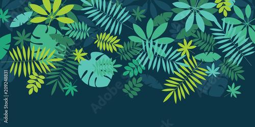 Foto  Green simple tropical leaves design element
