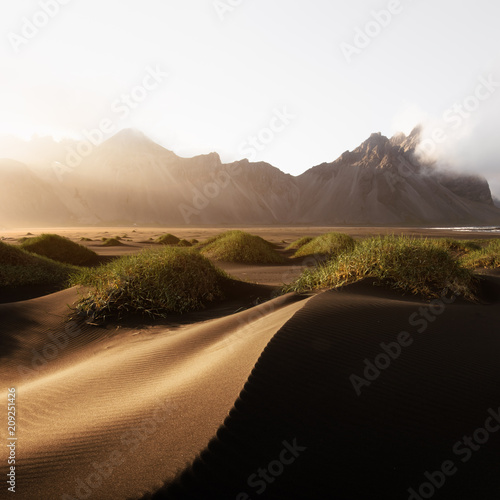 Staande foto Noord Europa Incredible view of the famous Stokksnes mountains on Vestrahorn cape, Iceland
