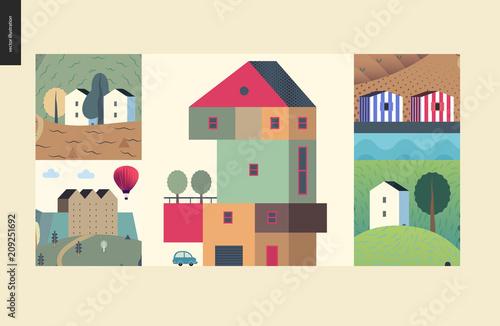 Vászonkép  Simple things - houses - flat cartoon vector illustration of colourful countrysi