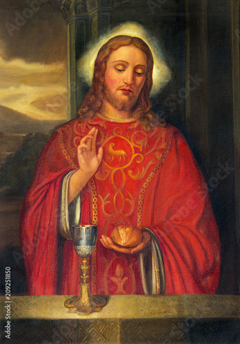 PARMA, ITALY - APRIL 15, 2018: The painting of Jesus Christ as the priest in church Chiesa di San Giovanni Evangelista by unknown artist.