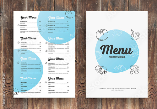 menu layout with blue circular elements buy this stock template and