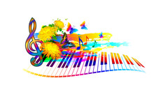 Music Summer Festival Background With Piano Keyboard, Flowers, Music Notes And Butterfly