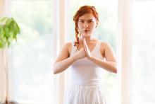 Young Woman Praticing Tai Chi ...