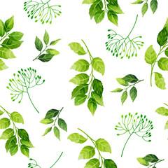 NaklejkaGreen leaves seamless pattern. Vector illustration.