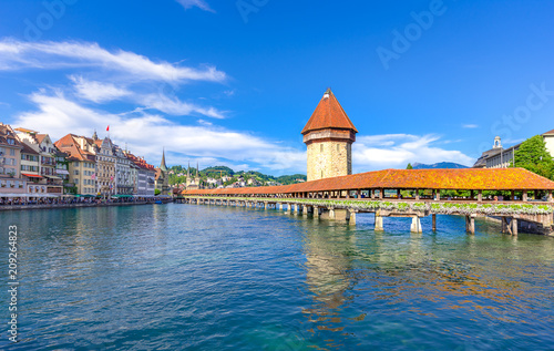 Chapel Bridge and Water Tower in Luzern - Switzerland Poster