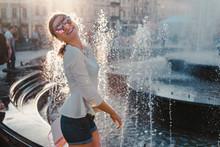 Happy Young Woman Tourist Havi...