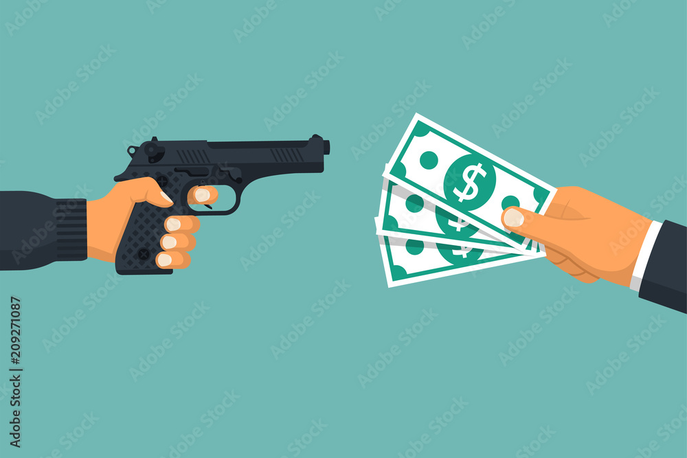Fototapeta Criminal threatening gun extorts money from the victim. Robbery concept. Bandit with a gun.Money in hand. Vector illustration flat design.Isolatedonwhitebackground. Theftofcash.