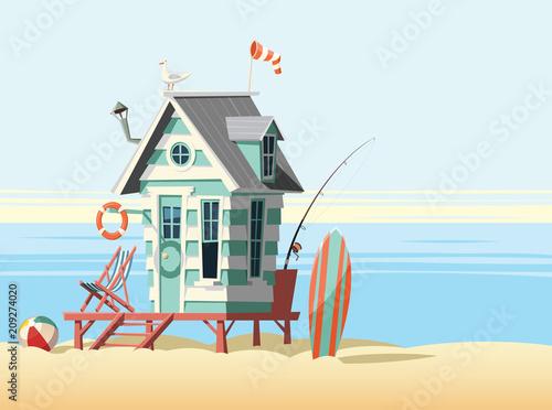 Cuadros en Lienzo Lonely beach hut