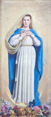 PARMA, ITALY - APRIL 17, 2018: The painting of Immaculate Conception in church Chiesa di San Uldarico by D. Pozzi from 20. cent.