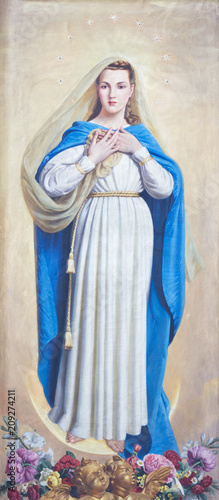 PARMA, ITALY - APRIL 17, 2018: The painting of Immaculate Conception in church Chiesa di San Uldarico by D Fototapet