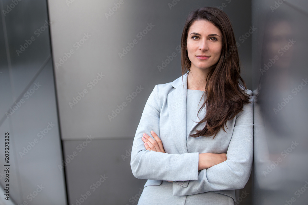 Fototapeta Headshot of successful business lawyer working executive professional with strong serious confident pose
