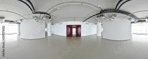 Poster Panoramafoto s Spherical 360 degrees panorama projection, interior empty room in modern flat apartments.