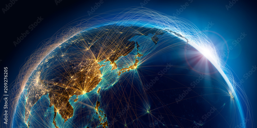 Fototapeta Planet Earth with detailed relief is covered with a complex luminous network of air routes based on real data. Pacific Ocean. Japan, China. 3D rendering. Elements of this image furnished by NASA