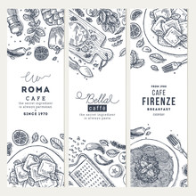 Italian Food Vertical Banner Set. Spagetti And Ravioli. Engraved Style Illustration. Hero Image. Vector Illustration
