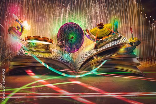 Open magic book, stories an...