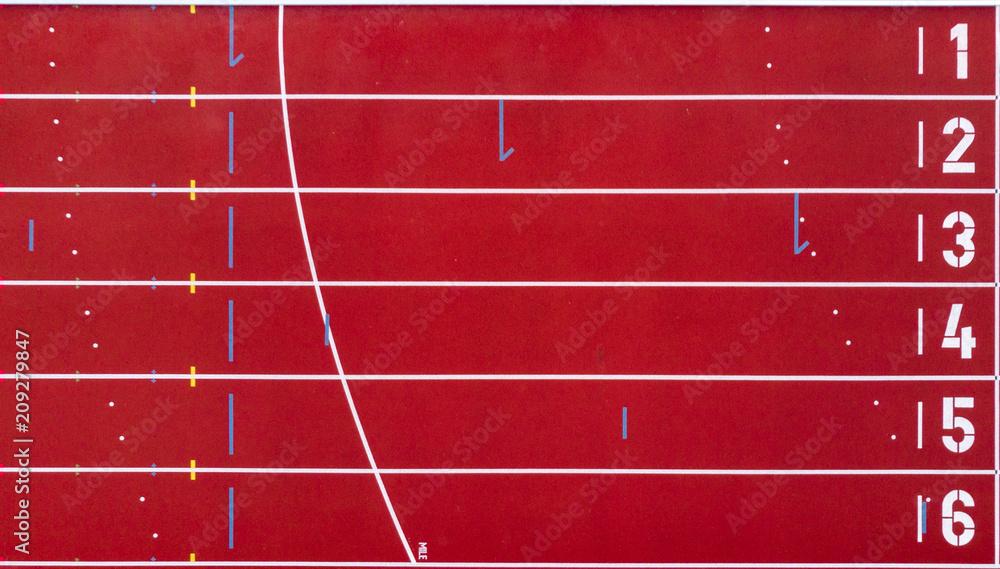Fotografie, Obraz Athletics track from above. Start and finish
