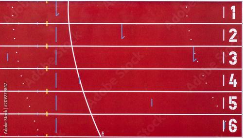 Obraz na plátně Athletics track from above. Start and finish