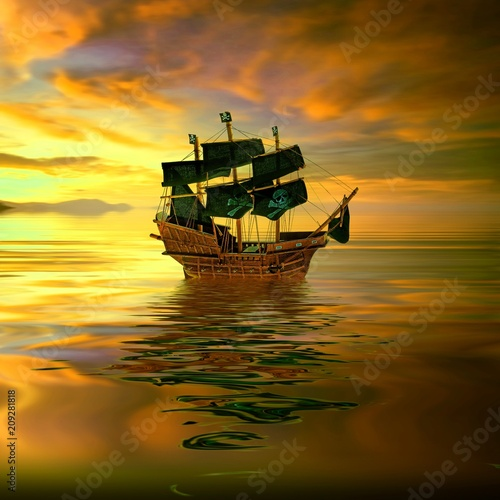 In de dag Schip Old ship drifting over sea at sunset in sky.