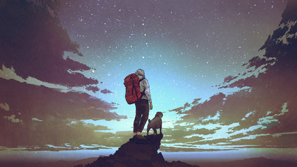 young hiker with backpack and a dog standing on the rock and looking at stars in the night sky, digital art style, illustration painting