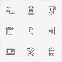 Kitchen Application Line Icon Set With Stove , Blender And Electrice Kettle