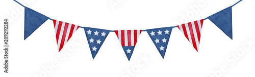 Obraz String of American flag decorative bunting. Hand drawn watercolour graphic paint on white background, isolated clip art element for patriotic decor and design. Navy dark blue and bright red color. - fototapety do salonu