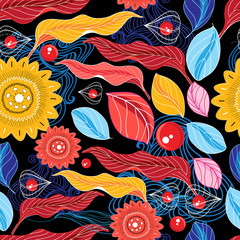 Fototapeta Jesień Autumn seamless color pattern