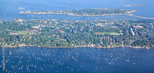 New England Coastline at Marblehead - Aerial View Wallpaper Mural
