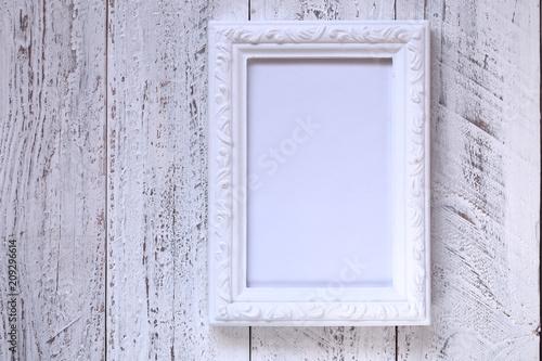 Empty Vintage White Frame On White Shabby Chic Backgroundempty