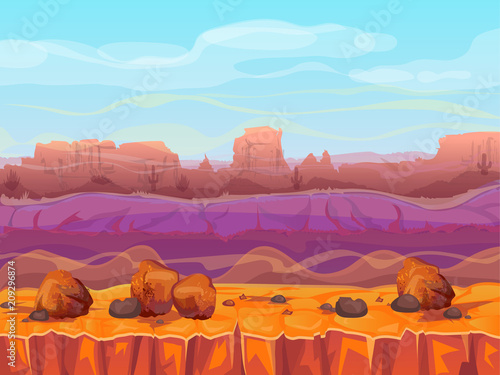 Desert canyon landscape vector illustration of Arizona valley or Mexican rock mountains Canvas Print
