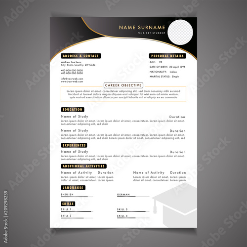 creative field  resume template can be use as letterhead
