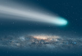 """Comet on the space - Planet Earth in front of the Milky Way galaxy """"Elements of this image furnished by NASA """""""